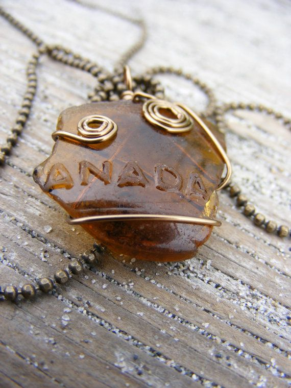Authentic Brown Partial Word Canada Sea Glass Necklace ($10 off until 08/20 with coupon code GRANDOPENING10)  #seaglass #seaglassjewelry #beachglass #beachglassjewelry #shophandmade #seaglassgrotto