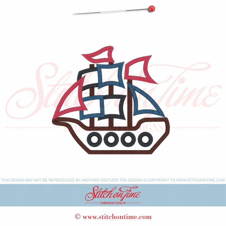 92 Pirates : Pirate Ship Applique 5x7