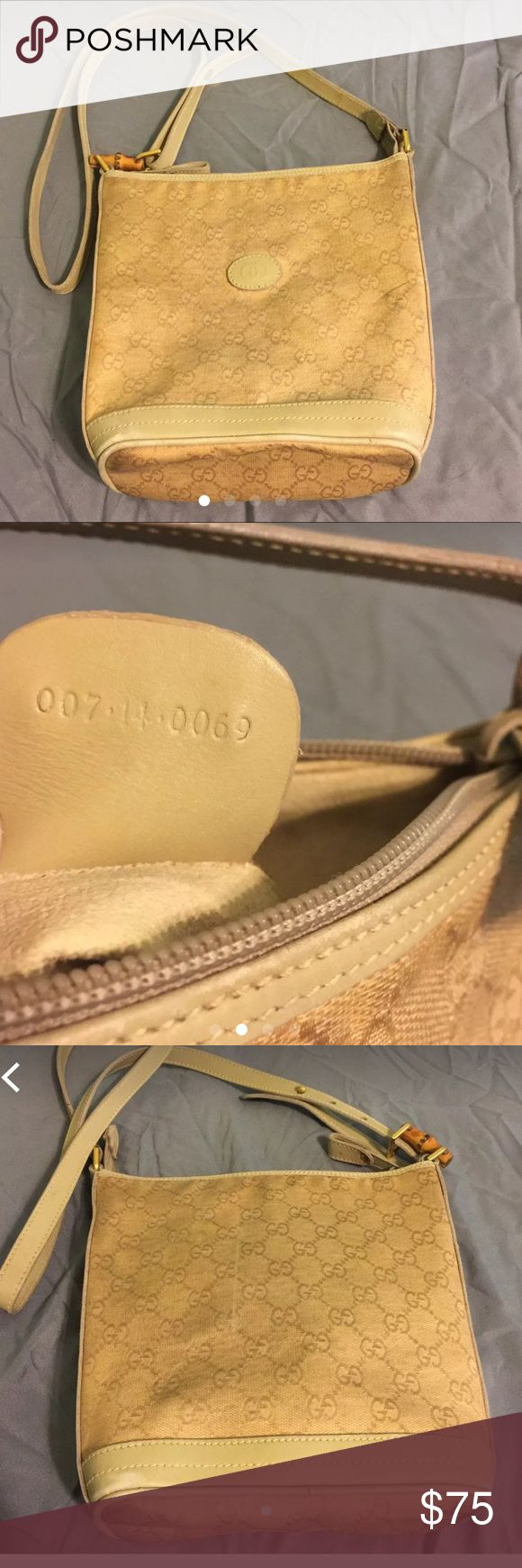 Vintage Gucci crossbody Authentic. Very dirty. Will need someone who knows how to rehab it. Leather is a little stiff. Priced low to match condition. Trade value is higher. This is a steal for someone who rehabs purses. If it doesn't sell at this price I'll be getting it cleaned on my own and raising what I am asking. Gucci Bags