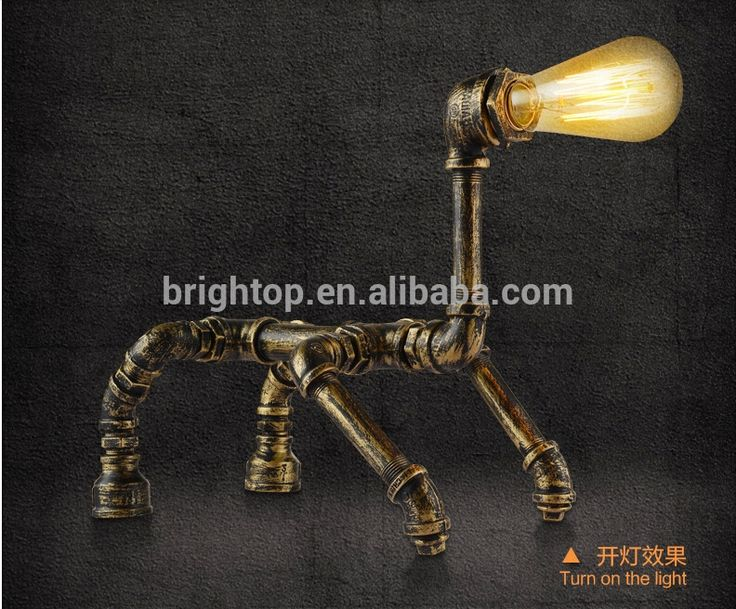 wholesales vintage waterpipe retro table lamp for decoration