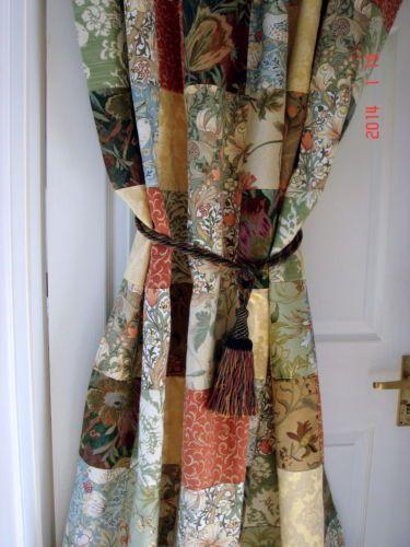 New Heavy Sanderson / William Morris Patchwork Door Curtain Velvet Lined