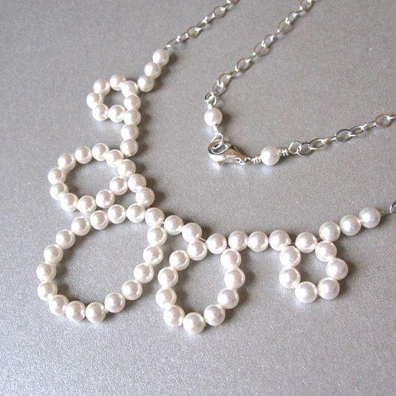 boucle Articles similaires, Collier de mariée avec noeud de perles moderne sur Etsy