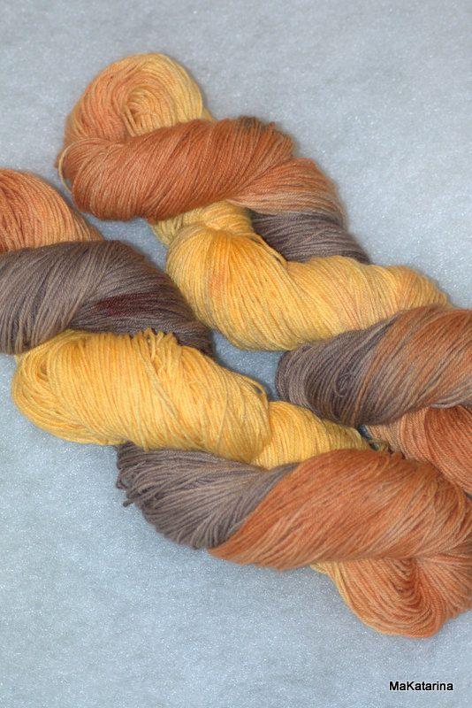 Hand dyed yarn autumn yarn handpainted yarn by MaKatarinaCorner