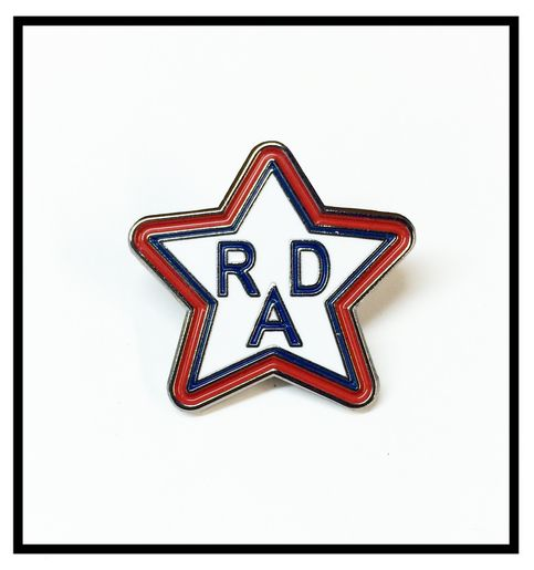 Soft enamel lapel pin single post with red rubber clutch comes with special holographic diecut star sticker