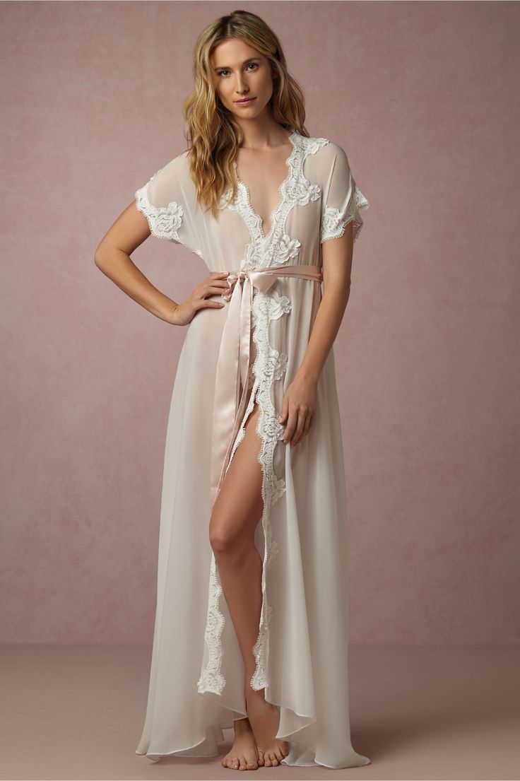 cinched with a blush satin sash | Danika Robe from BHLDN
