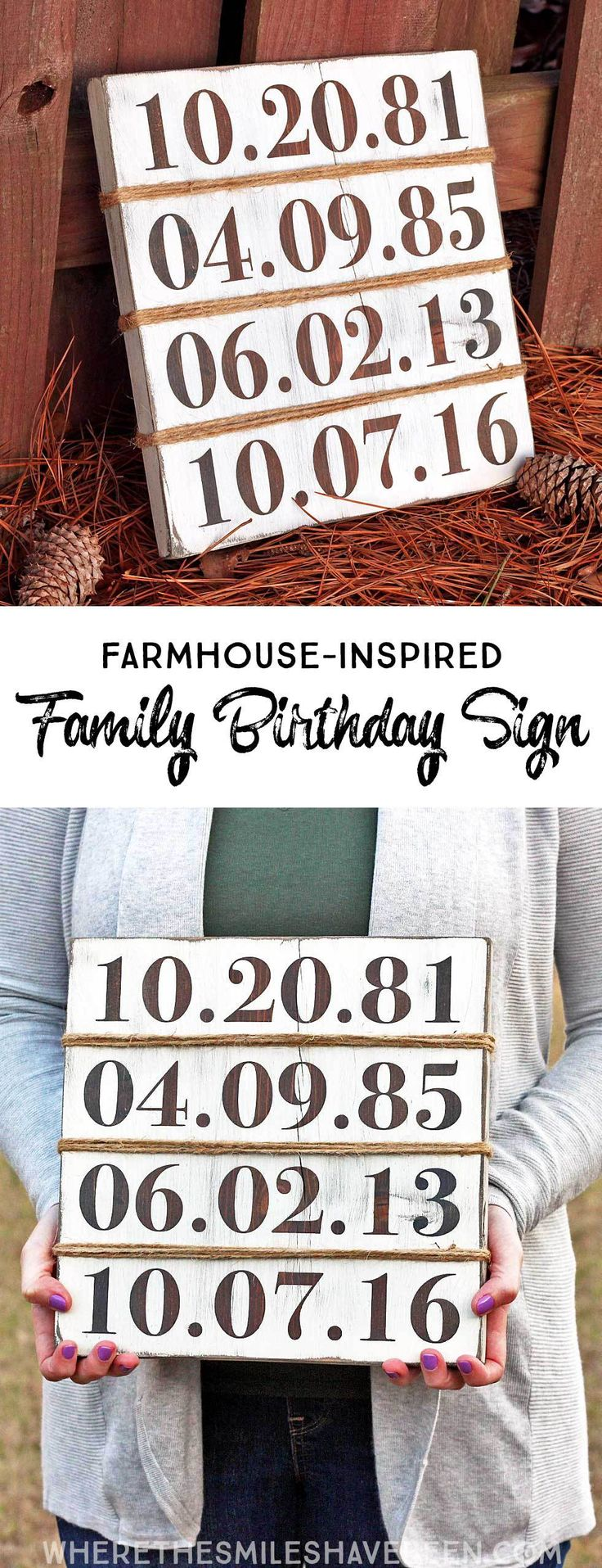 Rustic Farmhouse-Inspired Family Birthday Sign | Where The Smiles Have Been #farmhouse
