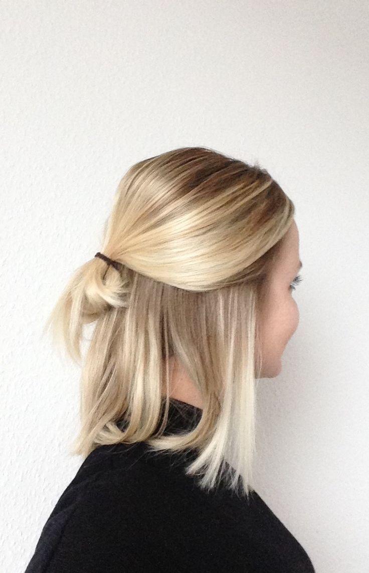 Long bob with low half bun | Buttery blonde | Natu…