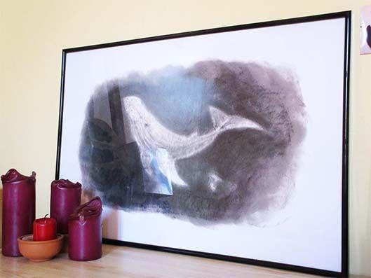 La baleine blanche. Illustration au fusain.  Illustration, déco, baleine, fusain, minimaliste, mer, océan,
