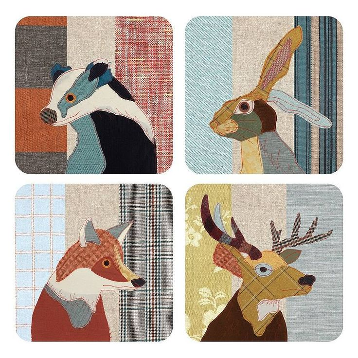 beastie stag, hare badger and fox coaster set by ginger rose | notonthehighstreet.com