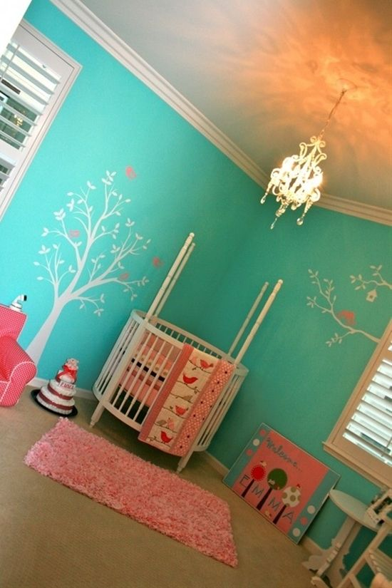 Baby room but with a mahogany rectangle crib