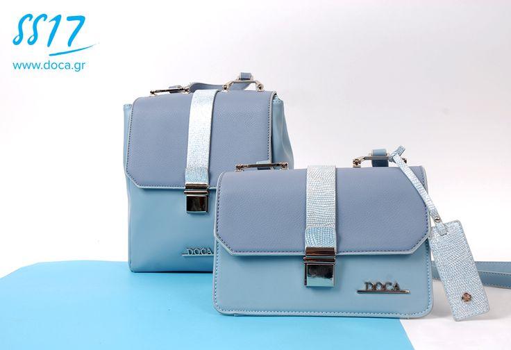 Sky blue!  www.doca.gr #doca #ss17 #sky #blue #backbag #bags #accessories #campaign #fashion