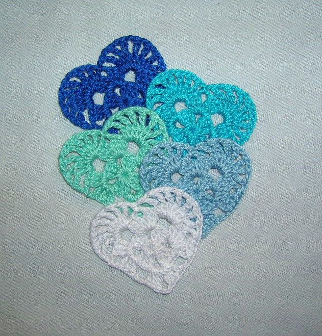 5 Crochet Hearts Appliques,Scrapbook,Accessories,Crafts,Doilies,Valentines,Paper