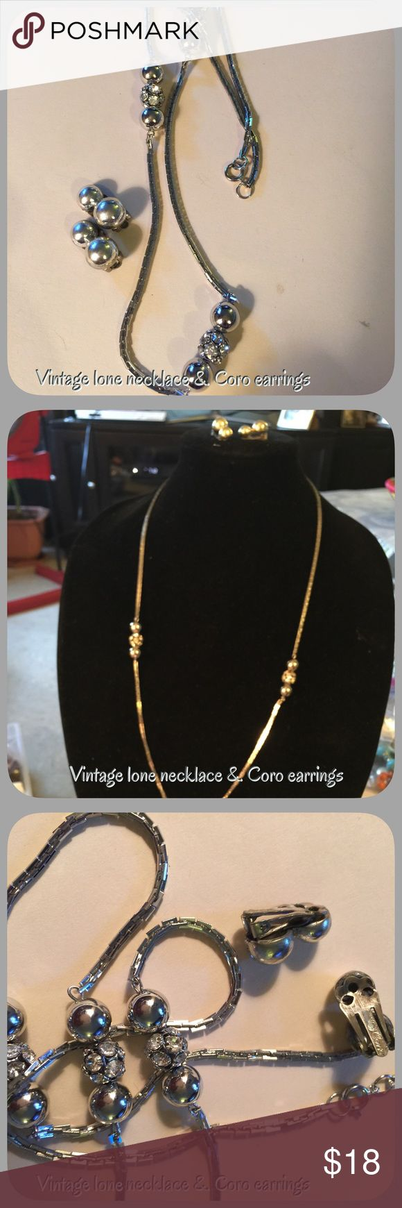 Vintage long silver tone necklace & Coro earrST#22 Vintage long necklace no hallmark, & Coro earrings hallmark, beautiful set I put together Vintage Coro Jewelry
