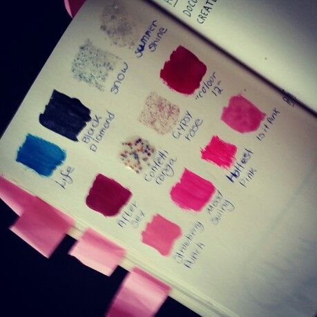 Sample various items in your house and document what they are.. I chose nail polish colours  Wreck this journal