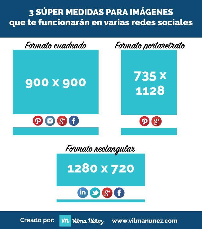 #Infografía: 3 medidas para imágenes que te funcionarán en varias redes sociales.  vía @vilmanunez