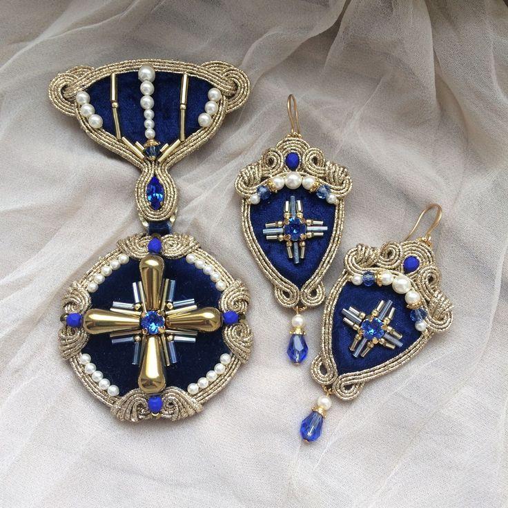 Купить Сутажный комплект Marina II - тёмно-синий, сутажная брошь, сутажные серьги, сутаж