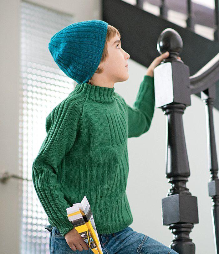 Tricot : un pull à côtes pour enfant