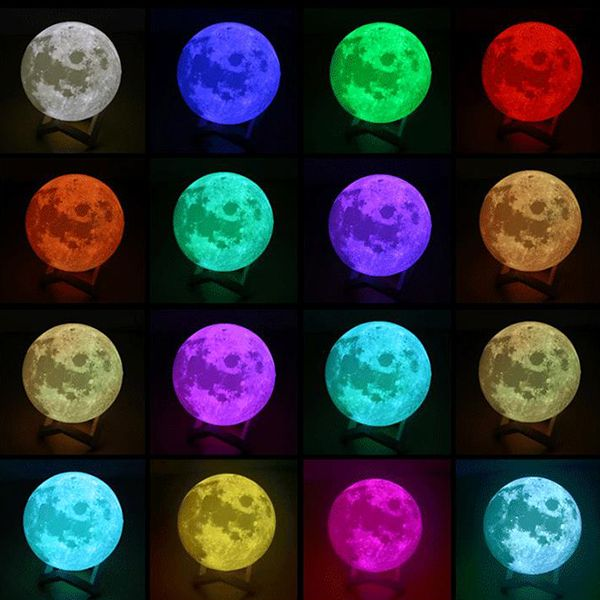 Decbest 3d Moon Lamp 16 Color Changing Usb Charging Led Night Light Touch Sensor Remote Control Is Multicolor Newchic Mo Led Night Light Night Light 3d Light