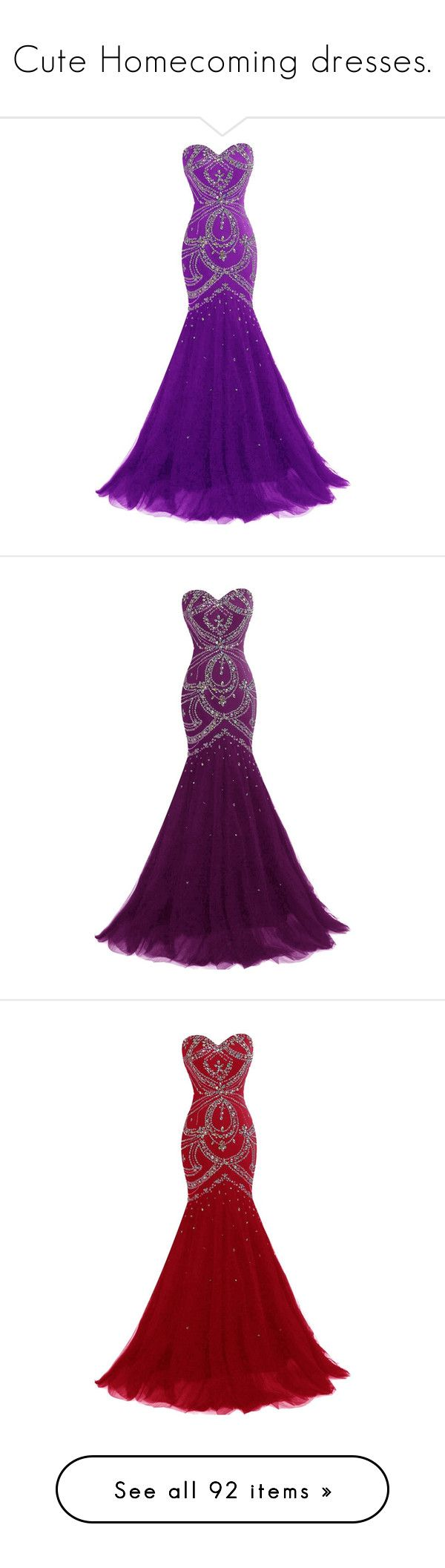 """""""Cute Homecoming dresses."""" by crazygirlandproud ❤ liked on Polyvore featuring dresses, gowns, long dress, tulle prom dresses, long evening dresses, beaded gown, corset prom dresses, beaded prom dresses, long gowns and long purple dress"""