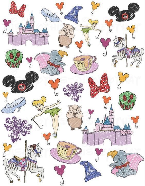 Disney Doodle Fabric By The Yard By Mindycreates On Etsy