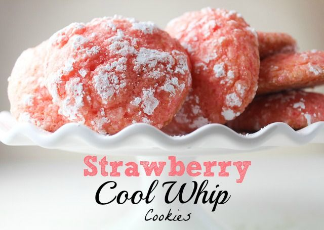 The most amazing EASY cookies made from a strawberry cake mix, Lite Cool Whip, and 2 eggs - so yummy and fun for Valentine's!