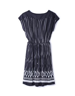 black pleated fit and flare dress