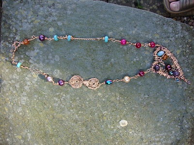 Handmade Organic Gemstone Necklace Amethysts PearlsTurquoise (FREE EARRINGS INC) | eBay