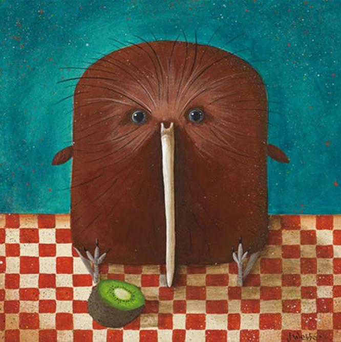 Little folk art style Kiwi bird - by Joanne Webber - available from Image Vault Ltd
