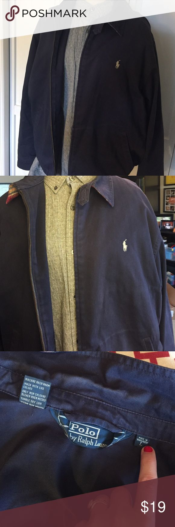 Navy Polo Ralph Lauren Coat This coat is in excellent condition, and has only been worn a handful of times. There is a plaid detail under the collar, and it zips up in the front. There are two lower outer pockets, and an interior pocket Polo by Ralph Lauren Jackets & Coats