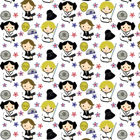 Star Wars Chibi  fabric by kiwicuties on Spoonflower - custom fabric
