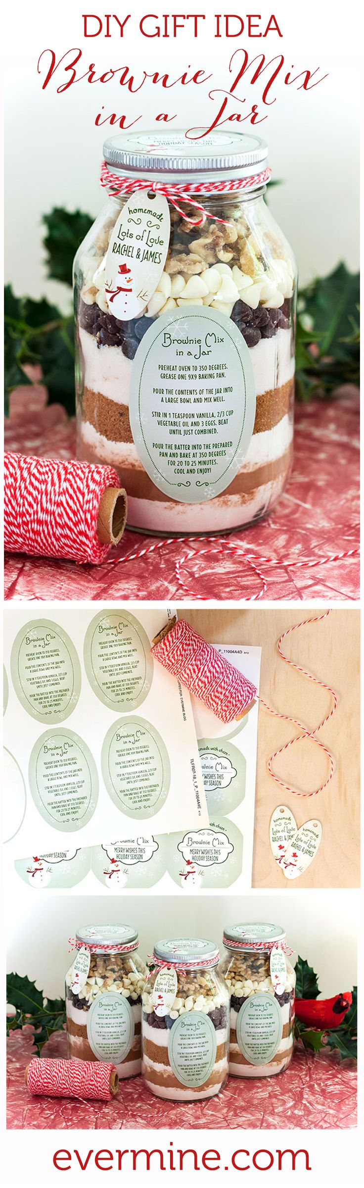 DIY Christmas Gift Idea: Brownie Mix in a Jar. Great gift idea for teachers, neighbors, family and friends.   Evermine Occasions   Evermine.com