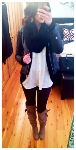 Winter outfit - Ponte leggings with brown boots, shirt tunic, Ponte Moto Jacket, and an infinity scarf