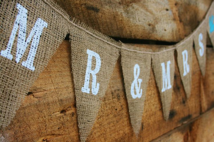 Burlap Bunting (with blue and coral lettering)