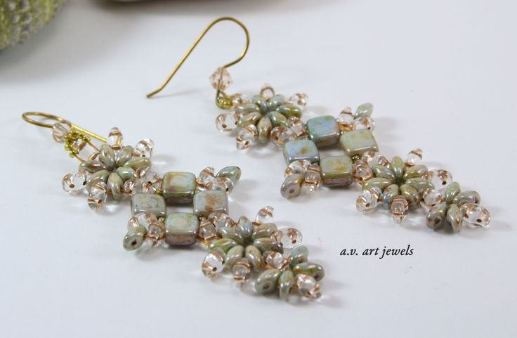 """earrings beads czech """"tecnica tessitura"""""""
