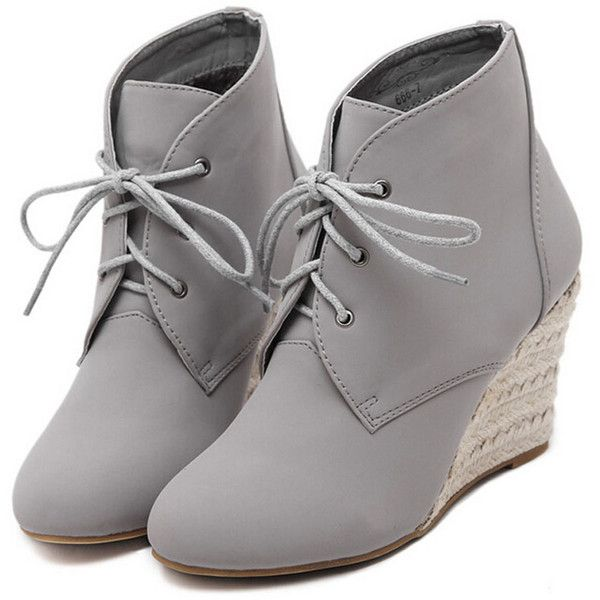 Gray Suedette Lace Up Wedge Ankle Boots ($57) ❤ liked on Polyvore featuring shoes, boots, ankle booties, heels, wedges, heeled ankle boots, wedge booties, grey booties, lace up heel booties and wedge bootie