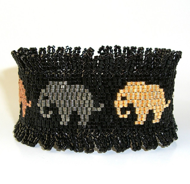 Metallic Elephants - Peyote and Ndebele Beaded Cuff Bracelet by miamiamia.etsy.com, via Flickr