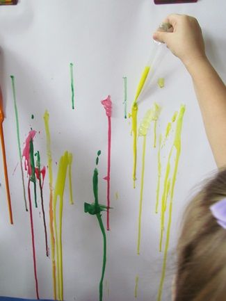 stop by the easel when a child began to paint to show them how to squeeze the pipette first then set it down into the paint and let go so the paint would suck up into the pipette…