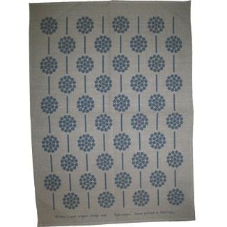 Natural tea towel -- hydrangea design in cottage blue