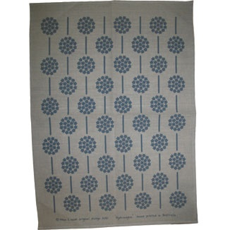 Natural tea towel -- hydrangea design in cottage blue