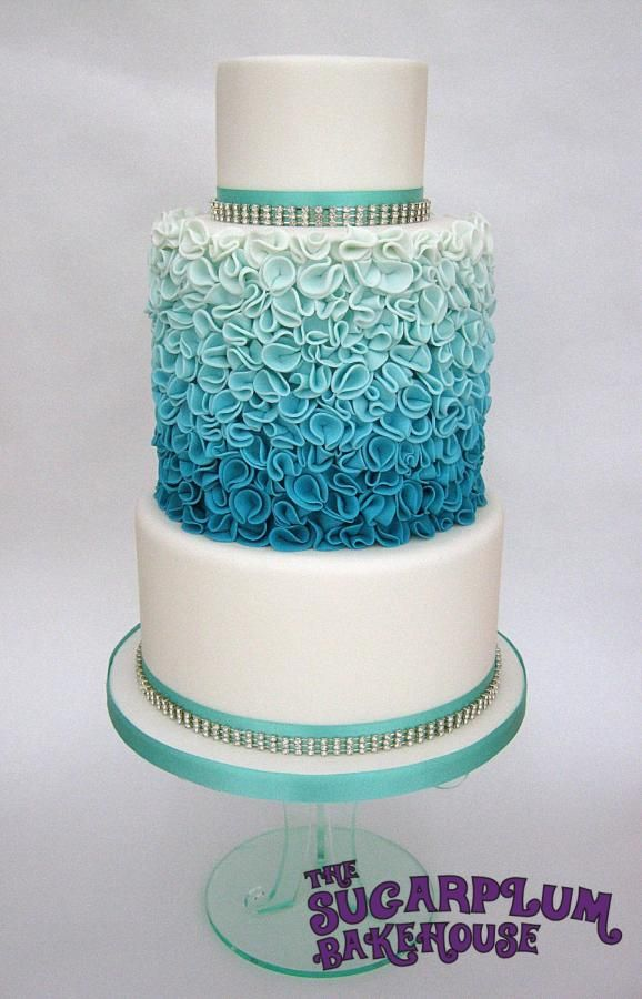 Turquoise Ombre Ruffle Style 3 Tier Wedding Cake Cakes