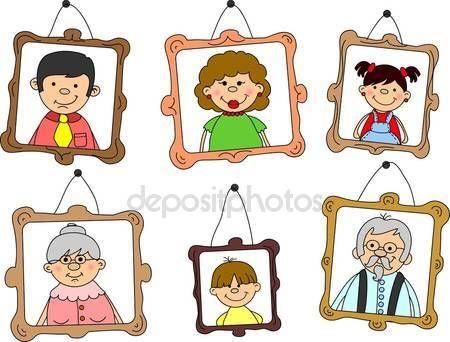 A család tagjai, anya, apa, lánya, fia, nagyszülők portrék — Stock Vektor © virinaflora #13880725