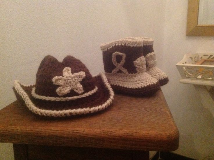 Crochet baby cowboy boots and hat