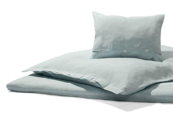 Bettwäsche Garngefärbtes reines Leinen, türkismeliert 135 x 200 cm   1 Kissen 80 x 80 cm