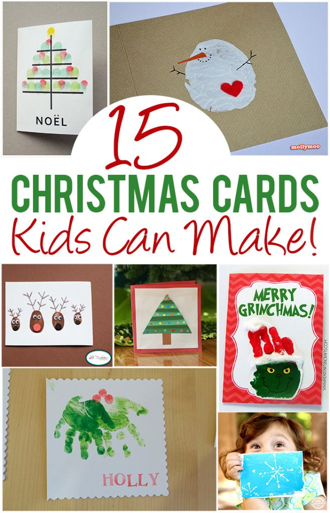 15 Christmas Cards Kids Can Make! The TOP picks from Pinterest. So many good ones I choose a favorite!