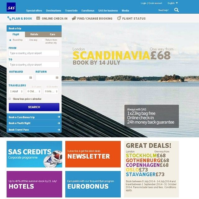 We have redesigned our website. Looks great right?   www.flysas.com