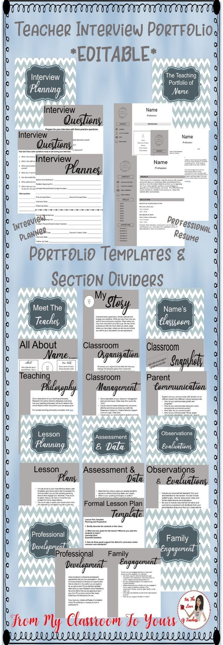 Whether you are a new teacher, a veteran teacher, or are looking to change school districts or positions, a teacher's portfolio  is a must have to showcase your best work to land the job you want. It Includes completely editable and professional templates. Get it at For The Love of Teachers Shop. #teachers #portfolio #interview