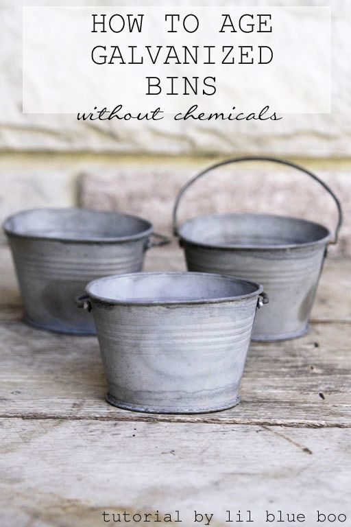 How to age galvanized metal bins without using chemicals. Age galvanized metal bins and make them look instantly antique. MichaelsMakers Lil Blue Boo