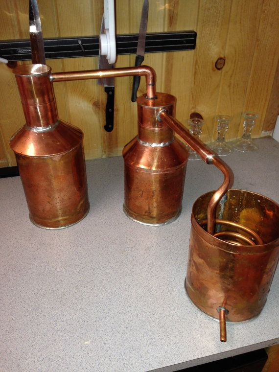 1 Liter Copper Moonshine Still with Thumper Keg, Worm and cooling bucket