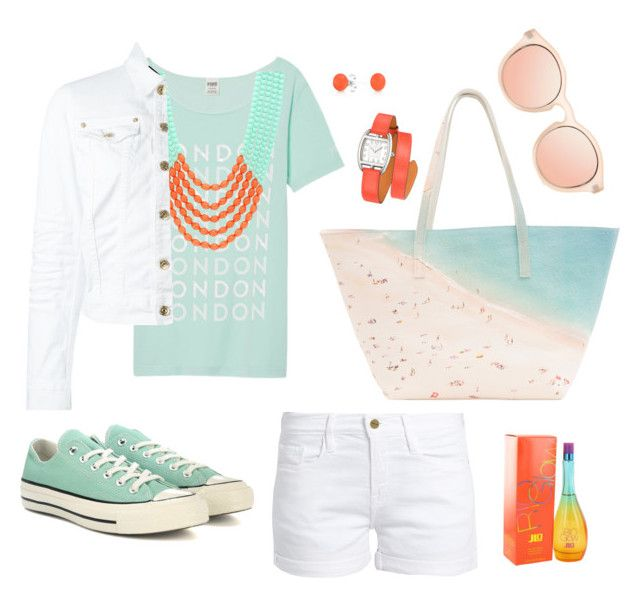 """""""milder Sommerabend"""" by eva-thomi on Polyvore featuring Frame, Sparkling Sage, Dsquared2, Converse, Paige Gamble, Hermès, Bling Jewelry, Jennifer Lopez and Le Specs"""