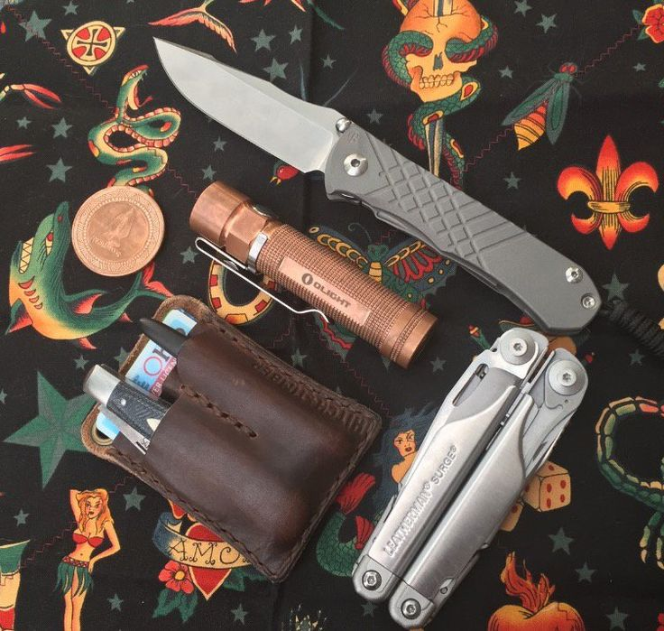 Work day around the house  submitted by Mathew Carver  Chris Reeve Knives Umnumzaan 3.675  Olight S2R Baton  Leatherman Surge  Northwoods Hawthorne Jack  Fisher Space Pen  Hitch & Timber Horween English Tan EDC Card Caddy